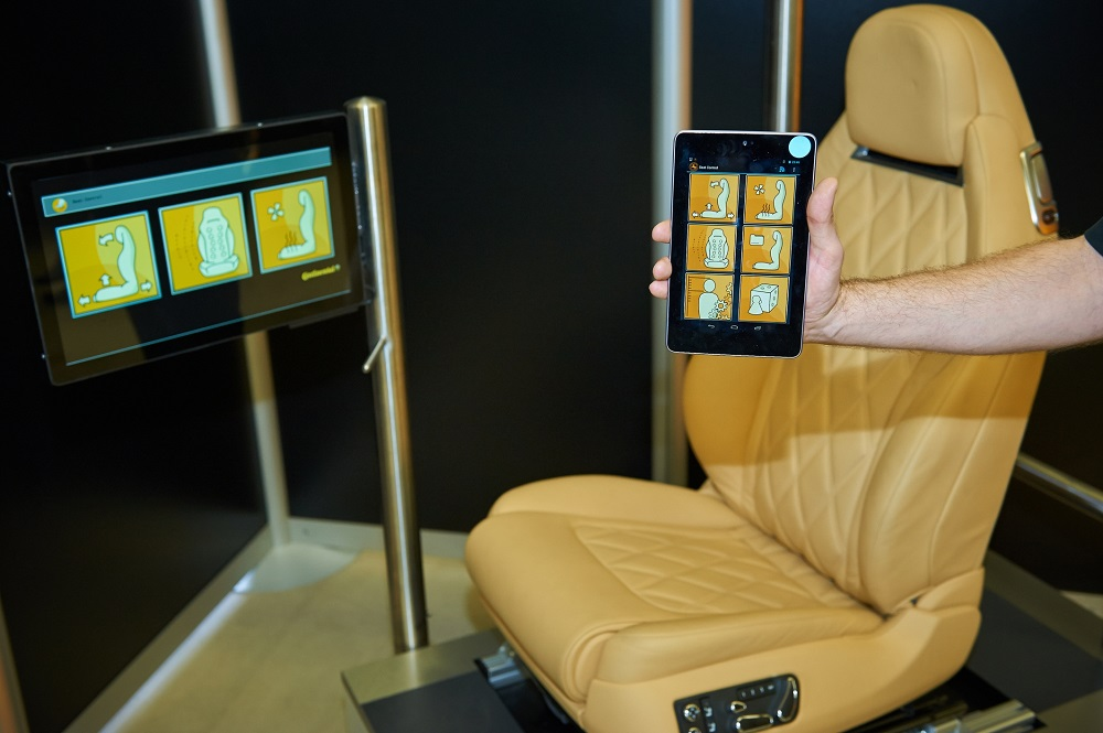 Seat prototype connected to a tablet computer shown at Frankfurt Motor Show IAA 2013