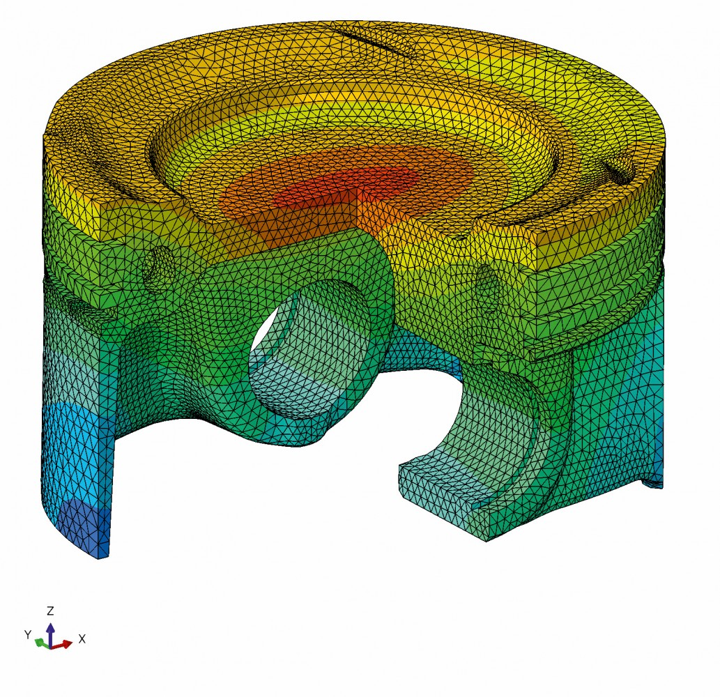 CAD of gallery-cooled Federal-Mogul piston