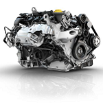 Renault three-cylinder turbocharged engine titled at an angle of 49°
