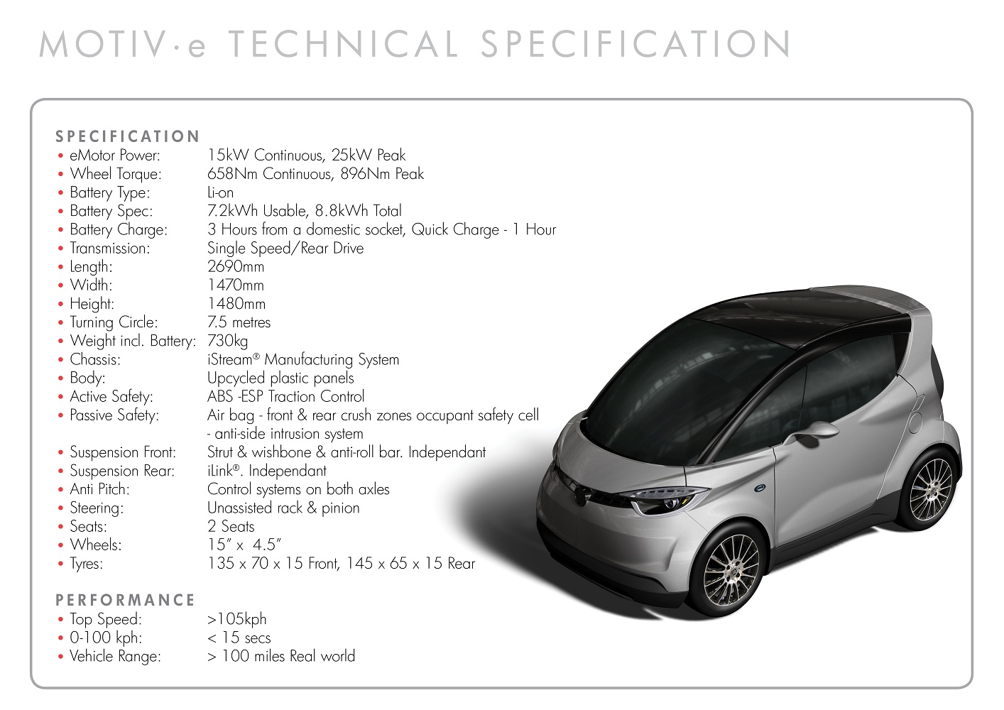 Yamaha MOTIV.e - technical specification