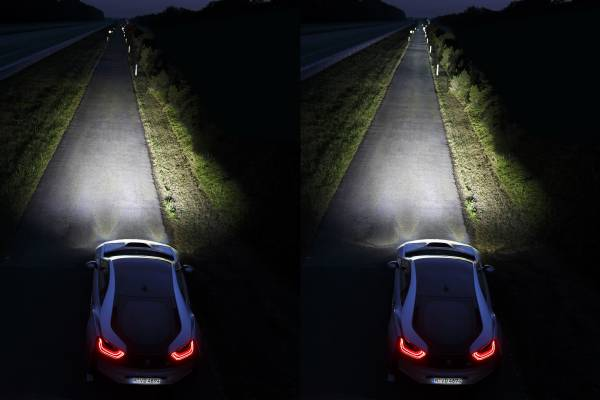 Left: LED High Beam, Right: Laser High Beam