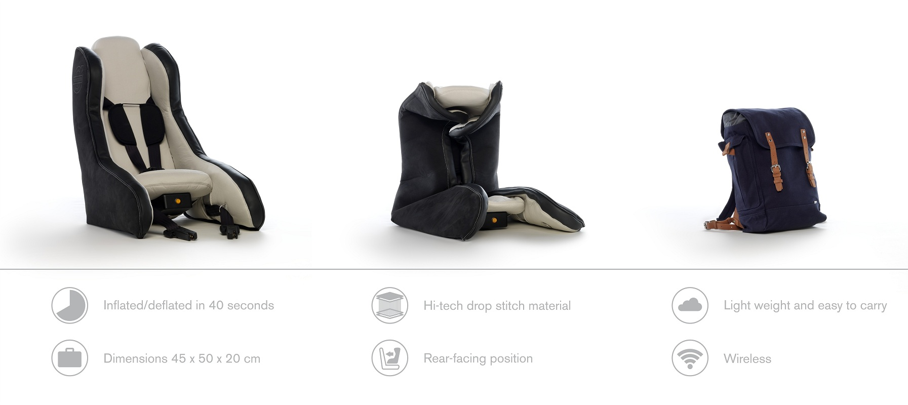 Inflatable child seat concept features