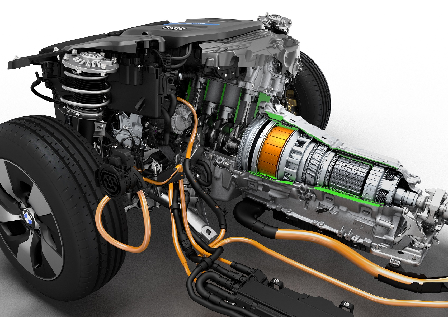 Internal combustion engine, electric motor and transmission