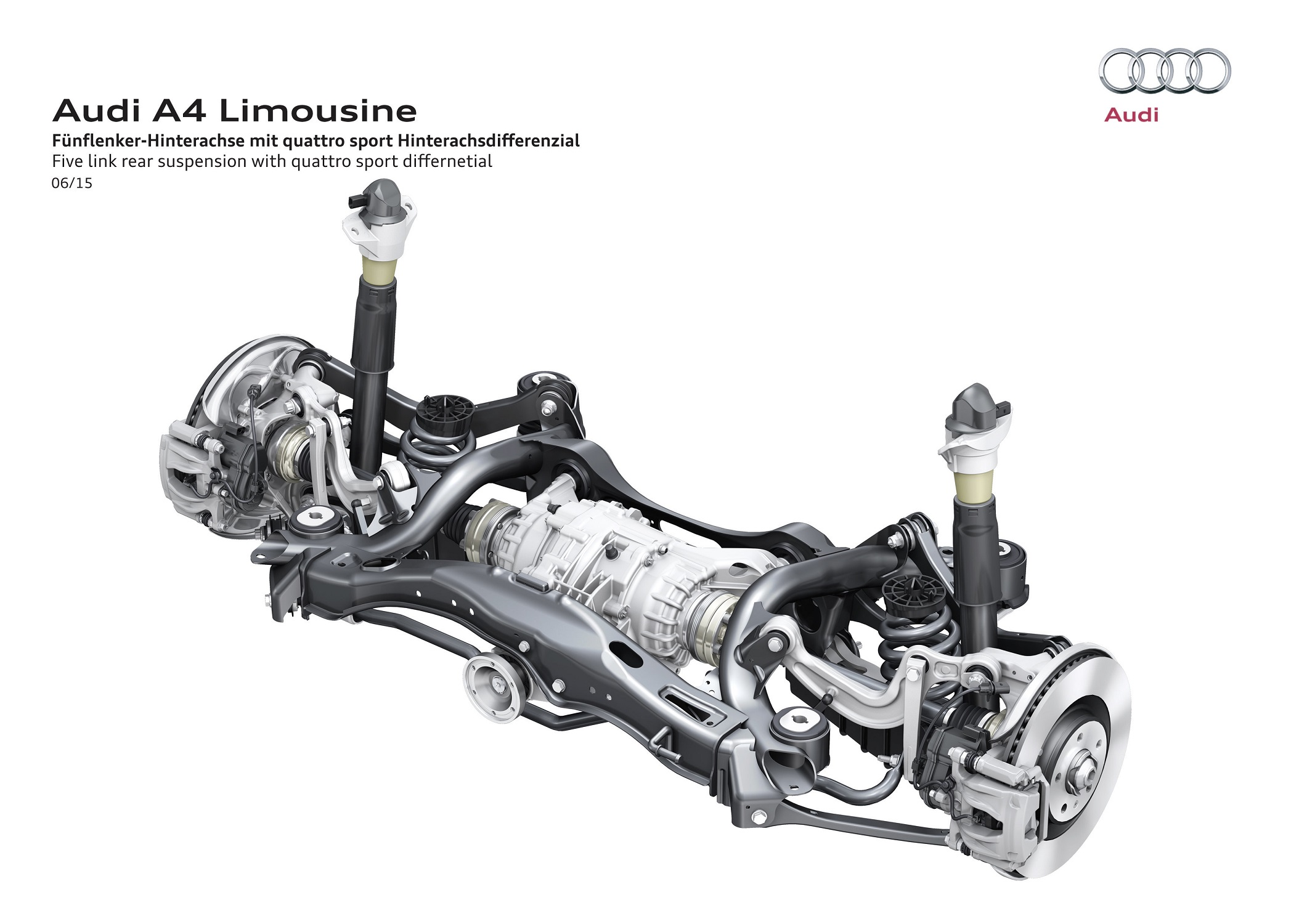 Audi A4 Five link rear suspension with quattro sport differential