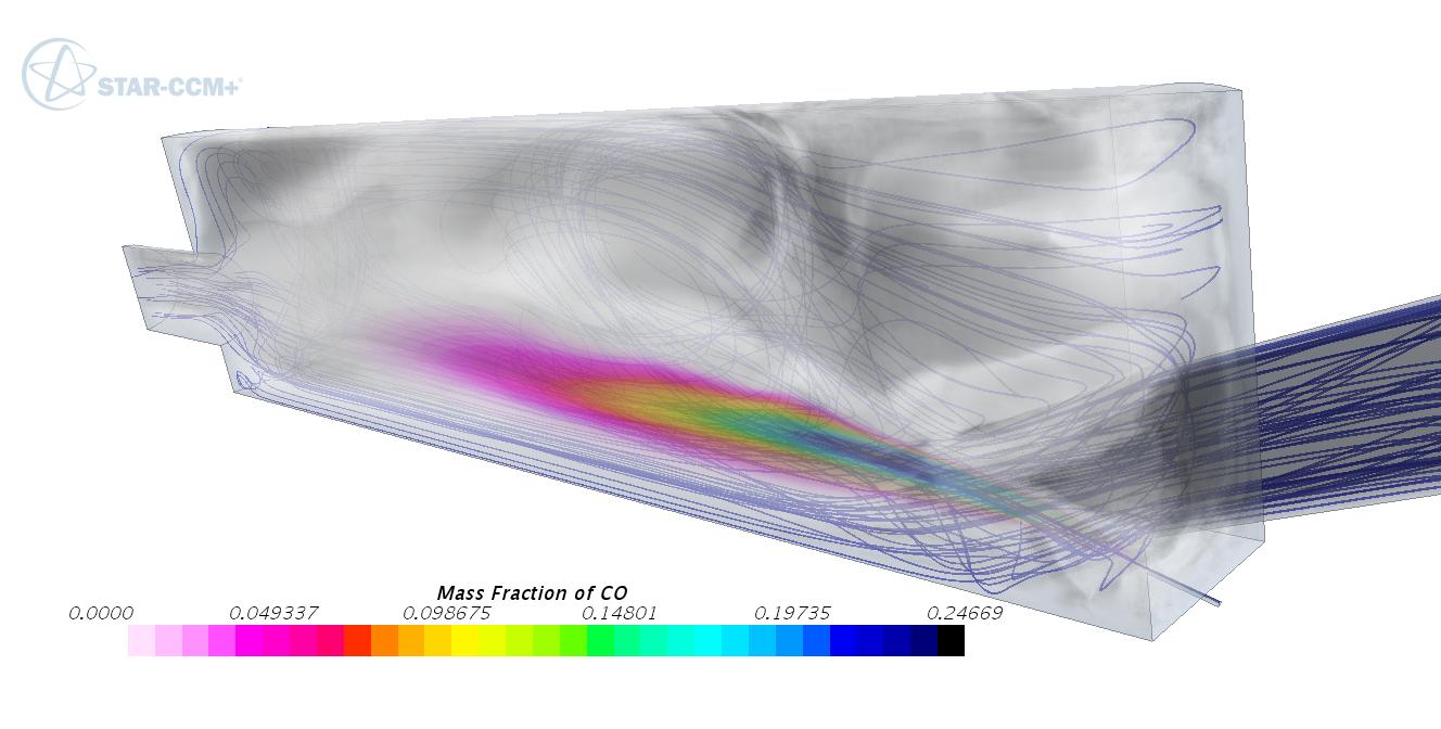 Fraction massique des CO dans une simulation en four verrier à l'aide du modèle de combustion FGM