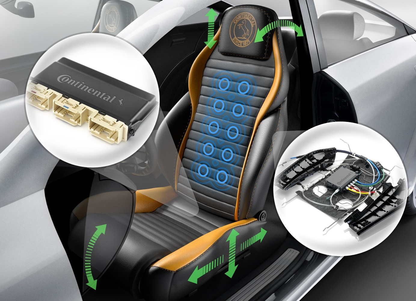 Continental controls for diverse electric seat adjustments