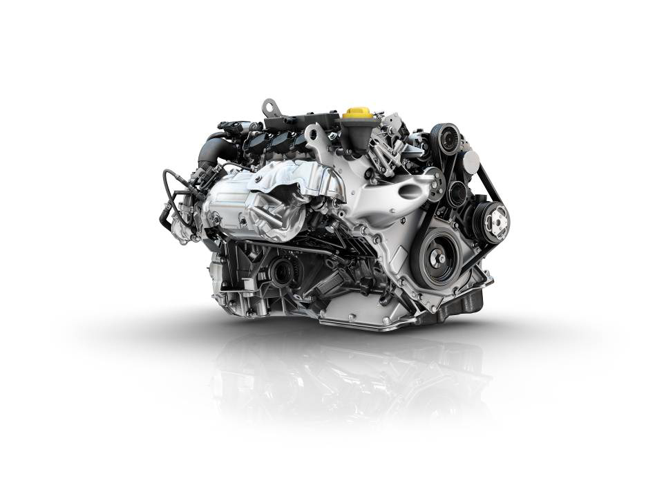 Renault three-cylinder turbocharged 90hp engine titled at an angle of 49°