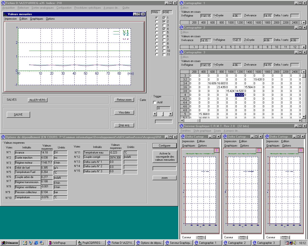 aspect du logiciel pendant la mesure et remplissage des cartographies
