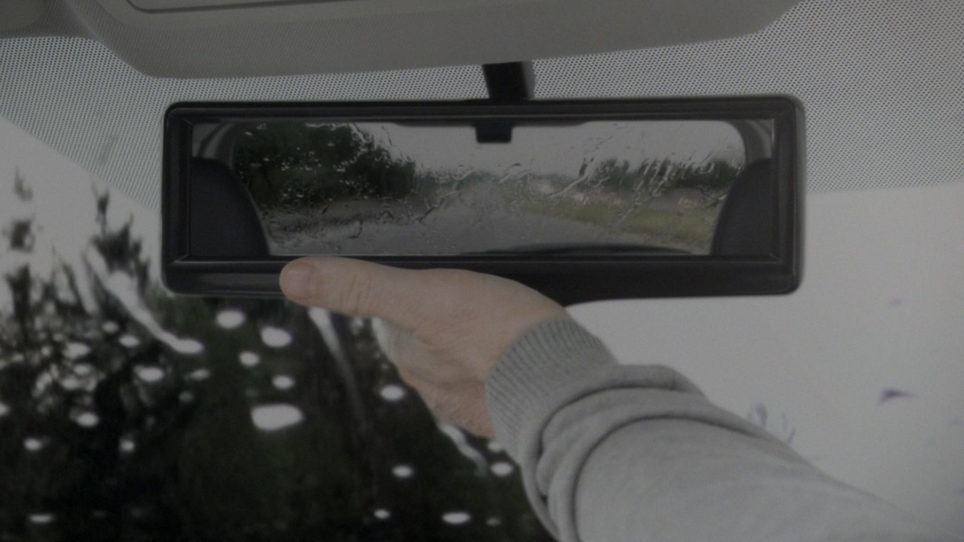 Mode normal du rétroviseur sous des conditions de fortes pluies