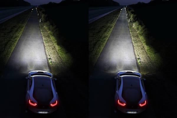 Left: LED High Beam, Right: Laser High Beam