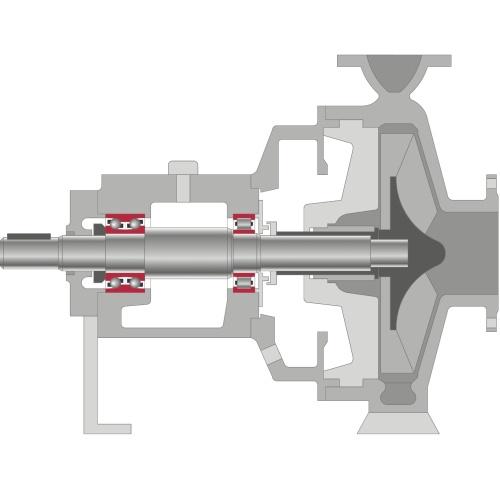 Pompe centrifuge avec roulements à billes et à rouleaux