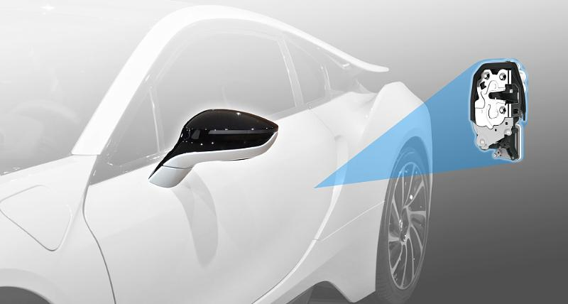 Hidden-turn-signal outside mirrors and SmartLatch, an electronic side-door latch system