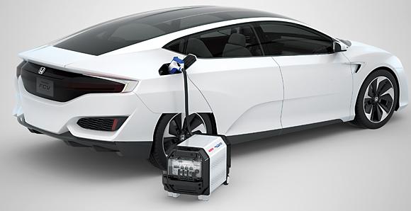 La Honda FCV CONCEPT,un concept-car devéhicule à pile à combustible, et le Honda Power Exporter CONCEPT