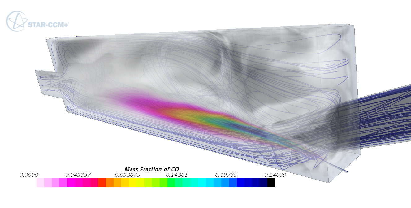 CO mass fraction field in glass furnace simulation